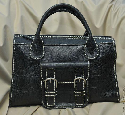 """Женские сумки ручной работы. Ярмарка Мастеров - ручная работа. Купить Саквояж """"Кроко"""" черный. Handmade. Черный, купить мужчине"""