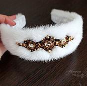 Украшения handmade. Livemaster - original item White Headband made of mink fur Russian style