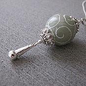 Кулон из нефрита. Серебро 925
