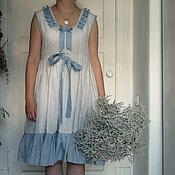 Одежда ручной работы. Ярмарка Мастеров - ручная работа Платье льняное морское. Handmade.