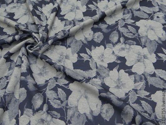 Шитье ручной работы. Ярмарка Мастеров - ручная работа. Купить Ткань трикотаж  джерси  синий цветы. Handmade. Ткани