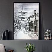 Картины ручной работы. Ярмарка Мастеров - ручная работа Картина Зима в Киото 61x91японская живопись суми-э  Пагода Япония тушь. Handmade.