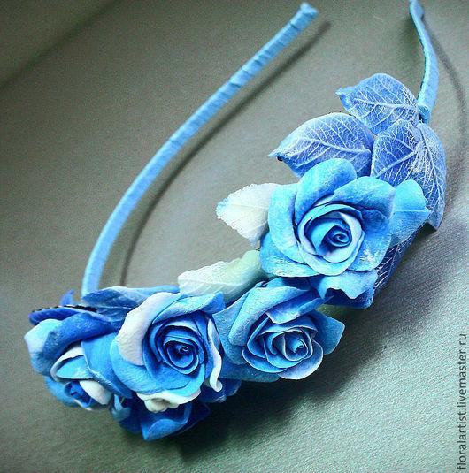 """Диадемы, обручи ручной работы. Ярмарка Мастеров - ручная работа. Купить ободок """"Розы, розы, голубые розы"""".. Handmade. Ободок"""