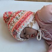 Работы для детей, manualidades. Livemaster - hecho a mano Beanie with ties for baby. Handmade.