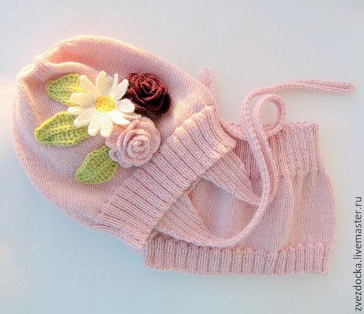 """Шапки и шарфы ручной работы. Ярмарка Мастеров - ручная работа. Купить комплект """"Flowers"""" шапка с ушками и шарф-снуд для девочки. Handmade."""
