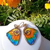 """Украшения ручной работы. Ярмарка Мастеров - ручная работа Серьги """"Крылья бабочки-1"""", латунь, пластик. Handmade."""