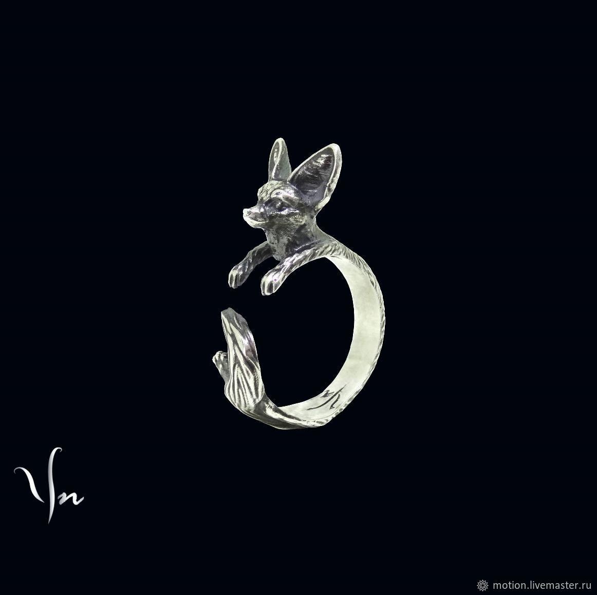 Sterling Silver Fennec Fox Ring, Fox Jewelry, Silver Ring Fox, Rings, Yerevan,  Фото №1