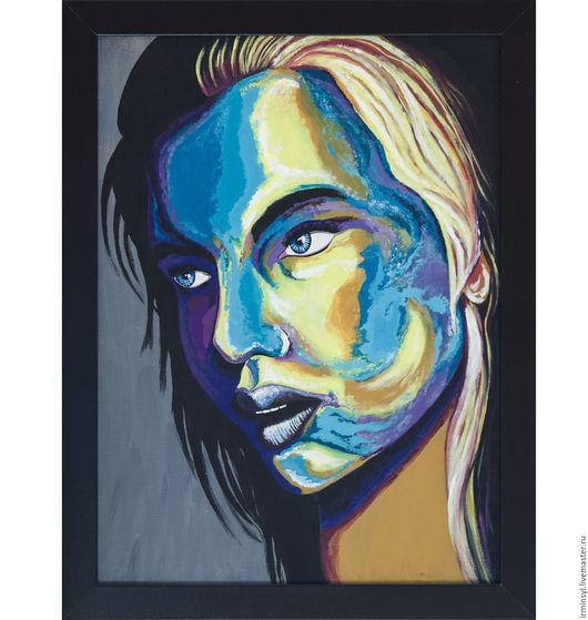 Абстракция ручной работы. Ярмарка Мастеров - ручная работа. Купить Современное искусство, портрет акриловыми красками.. Handmade. Тёмно-синий