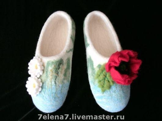 """Обувь ручной работы. Ярмарка Мастеров - ручная работа. Купить Тапочки домашние """"Альпийский лужок"""". Handmade. Валяные тапочки"""