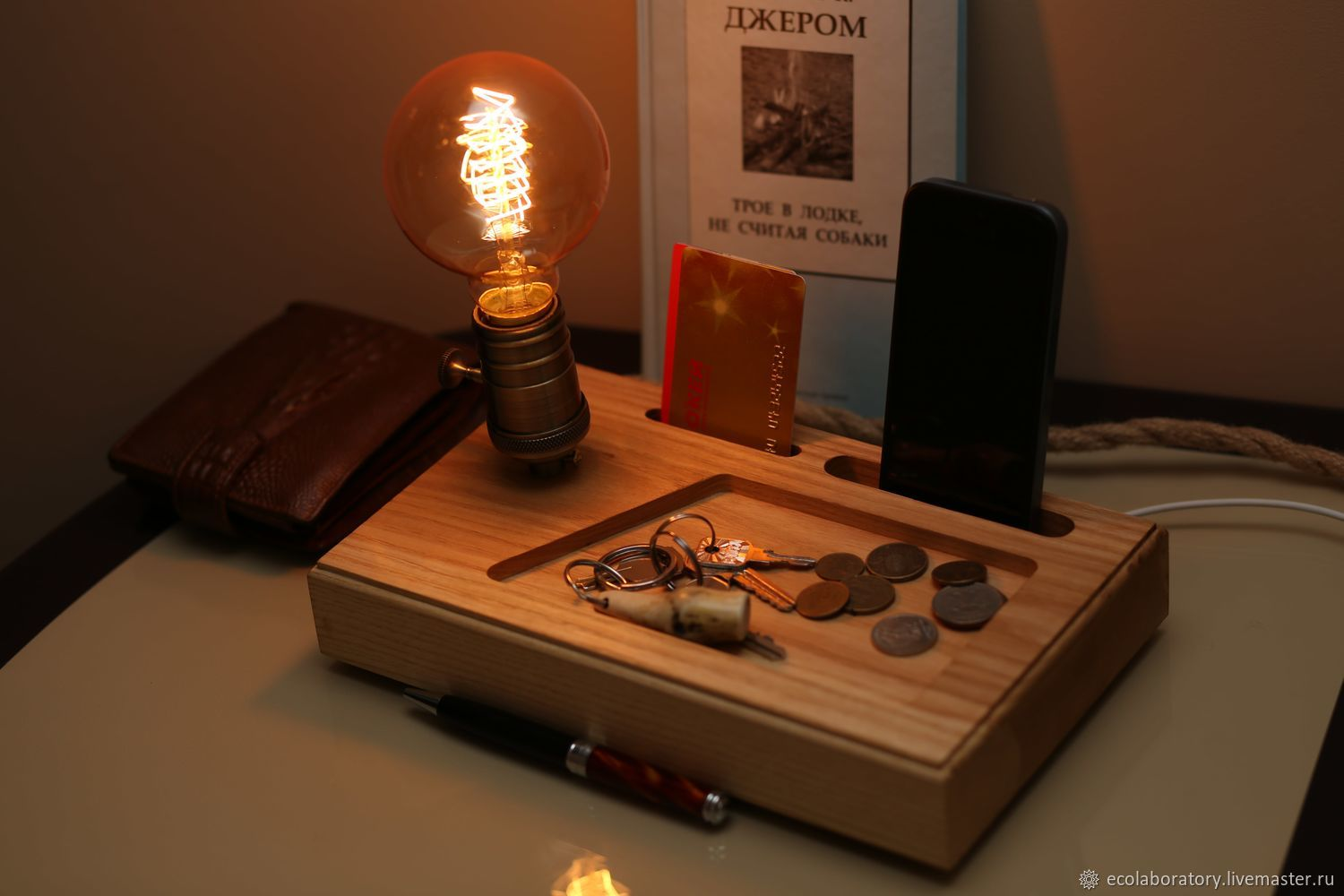 Ash phone stand with Edison lamp / Docking station, Stand, Voronezh,  Фото №1