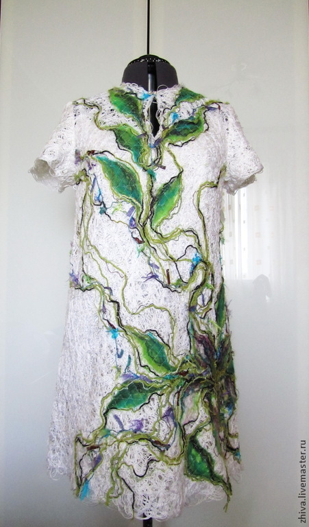 Платья ручной работы. Ярмарка Мастеров - ручная работа. Купить Платье Весна. Handmade. Белый, шелк, натуральный жемчуг