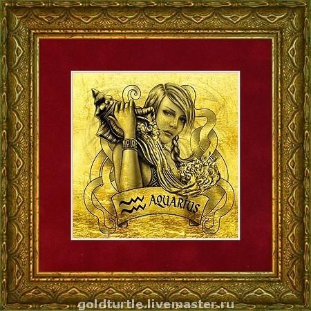 """Подарки по знакам Зодиака ручной работы. Ярмарка Мастеров - ручная работа. Купить Подарок """"Знаки Зодиака, Амазонки. Водолей"""" картина из золота. Handmade."""