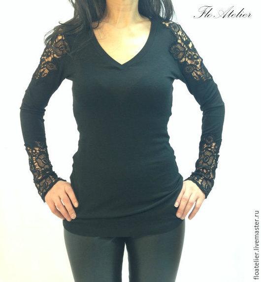 Блузка черная кружевная купить