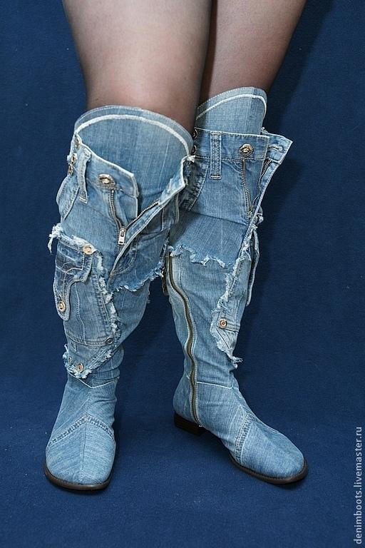 Обувь ручной работы. Ярмарка Мастеров - ручная работа. Купить Сапоги высокие джинсовые без мельхиора. Handmade. Синий