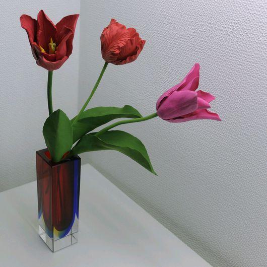 Цветы ручной работы. Ярмарка Мастеров - ручная работа. Купить Тюльпаны из полимерной глины Claycraft by DECO. Handmade.