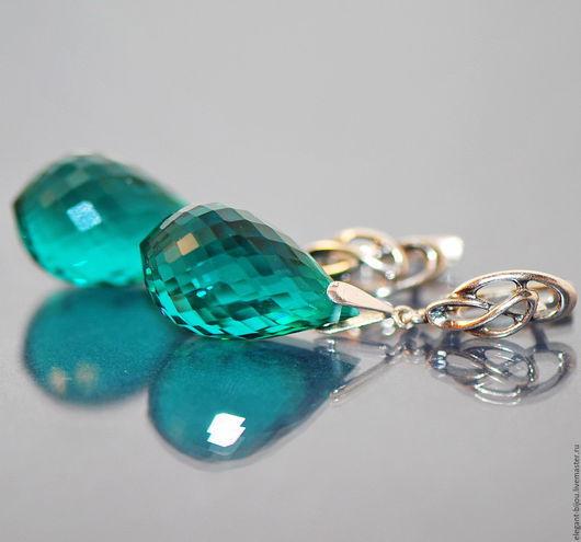 серьги серебряные с апатитами параиба; серьги серебро с камнями; шикарные серьги; магазин ювелирной бижутерии; серьги серебро камни; серьги морская волна; купить подарок люббимой