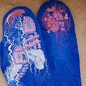 """Аксессуары ручной работы. Ярмарка Мастеров - ручная работа Варежки """"Розовые домики"""". Handmade."""