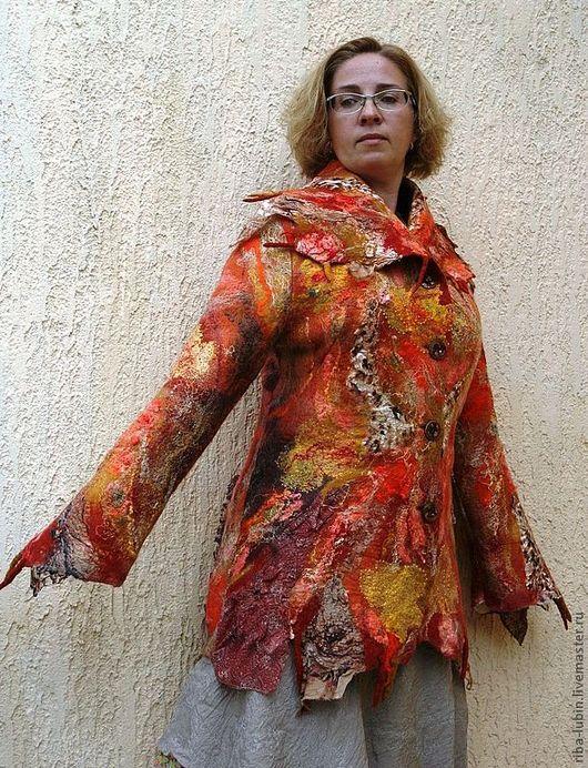 """Верхняя одежда ручной работы. Ярмарка Мастеров - ручная работа. Купить Пальто """"Сердце осени"""". Handmade. Рыжий, валяное пальто"""