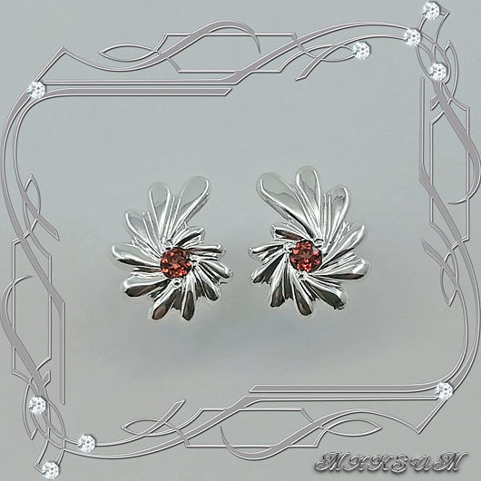Earrings - ear-stud 'Comma - fan' 925 sterling silver, natural garnets, Earrings, St. Petersburg,  Фото №1