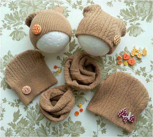 Одежда для кукол ручной работы. Ярмарка Мастеров - ручная работа. Купить Комплект шапочка и снуд для куклы (6-8см диаметр головы) хлопок. Handmade.