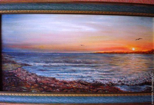 """Пейзаж ручной работы. Ярмарка Мастеров - ручная работа. Купить """"Море закат"""". Handmade. Картина маслом, картина для интерьера"""