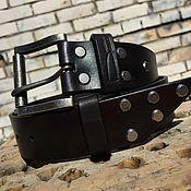 Ремни ручной работы. Ярмарка Мастеров - ручная работа Ремень кожаный чёрный. Handmade.