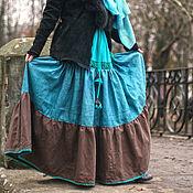 Одежда handmade. Livemaster - original item linen tiered skirt with lace