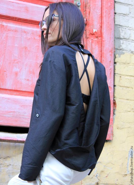 R00011 Туника черная туника из хлопка рубашка с открытой спиной черная блузка туника летняя Рубашка черная свободная летняя рубашка летняя блузкаРубашка черная свободная летняя рубашка