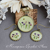 Украшения handmade. Livemaster - original item Set of jewelry with real flowers in resin
