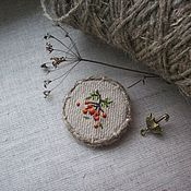 Украшения handmade. Livemaster - original item Linen brooch with hand embroidery