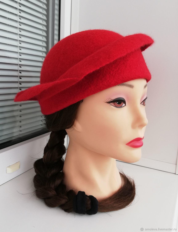 Hat-tok felted The Red Velvet, Hats1, Minsk,  Фото №1