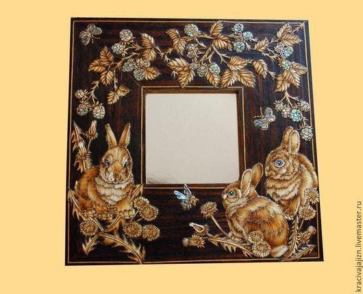 """Зеркала ручной работы. Ярмарка Мастеров - ручная работа. Купить зеркало """"Крольчата"""". Handmade. Коричневый, зеркало ручной работы"""