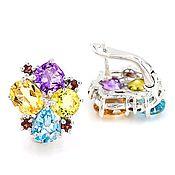 Exclusive!Серьги FLOWER Multy-color с камнями ААА в серебре 925