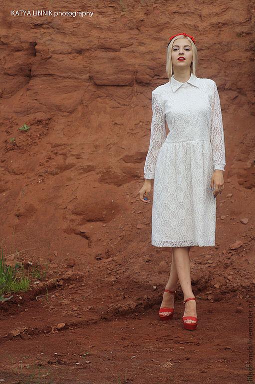 """Платья ручной работы. Ярмарка Мастеров - ручная работа. Купить Платье """"Клюква в сахаре"""". Handmade. Белый, кружева, платье летнее"""