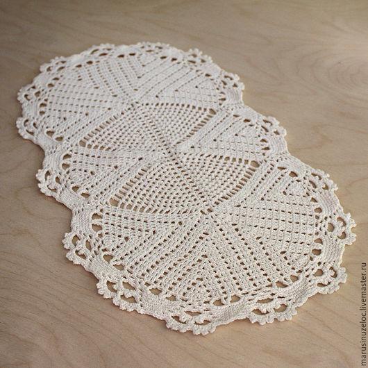 Текстиль, ковры ручной работы. Ярмарка Мастеров - ручная работа. Купить салфетка вязаная крючком овальная, салфетка ажурная, бежевый. Handmade.