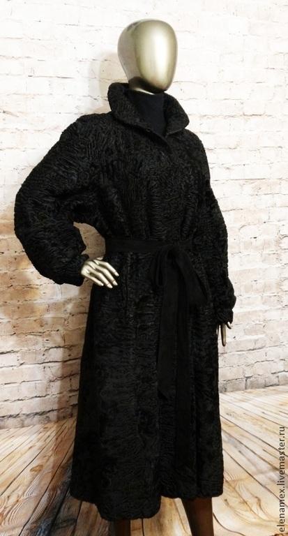 Верхняя одежда ручной работы. Ярмарка Мастеров - ручная работа. Купить Пальто из каракуля swakara. Handmade. Черный, каракульча, мех