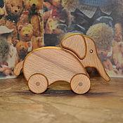 Куклы и игрушки ручной работы. Ярмарка Мастеров - ручная работа слон  на колёсиках(серия ,, Зоопарк на колёсах,, ). Handmade.