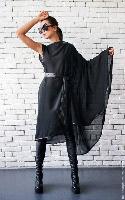 Кофты и свитера ручной работы. Ярмарка Мастеров - ручная работа. Купить ТУНИКА ИЗ ШИФОНА. Handmade. Черный, черная одежда