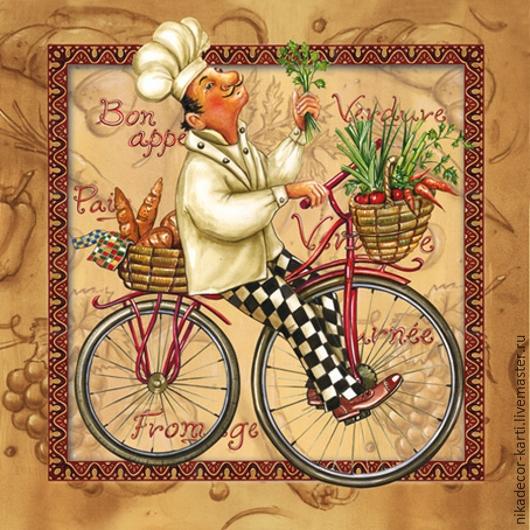 Декупаж и роспись ручной работы. Ярмарка Мастеров - ручная работа. Купить Веселый повар на светлом (SLOG020301) - салфетка для декупажа. Handmade.