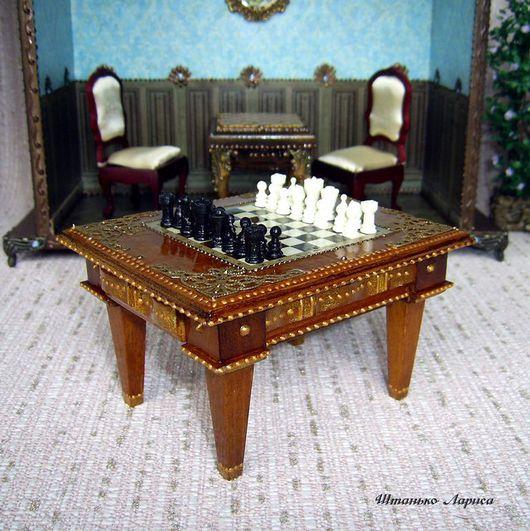 Кукольный дом ручной работы. Ярмарка Мастеров - ручная работа. Купить Шахматный стол. Миниатюра 1:12. Handmade. Коллекция, стол