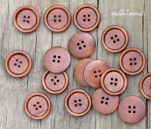 Шитье ручной работы. Ярмарка Мастеров - ручная работа. Купить Пуговица деревянная св.коричневая. Handmade. Рыжий, пуговица декоративная