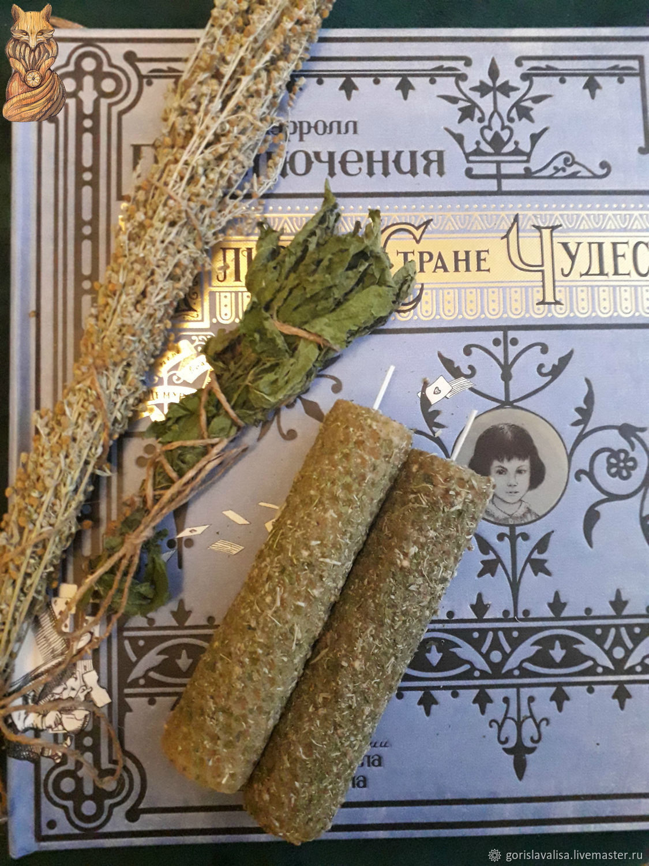 Свеча из вощины с полынью и крапивой, Свечи, Москва,  Фото №1