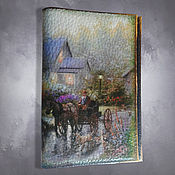 Канцелярские товары handmade. Livemaster - original item Leather cover passport Carriage with horse and dog. Handmade.