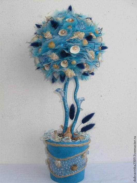 """Топиарии ручной работы. Ярмарка Мастеров - ручная работа. Купить Топиарий """"С мечтой о море"""".. Handmade. Голубой, ракушки, корилус"""