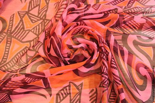 Шитье ручной работы. Ярмарка Мастеров - ручная работа. Купить Ткань шёлковая, шифон,с рисунком в розовой гамме,Франция ,Marc Rozier. Handmade.