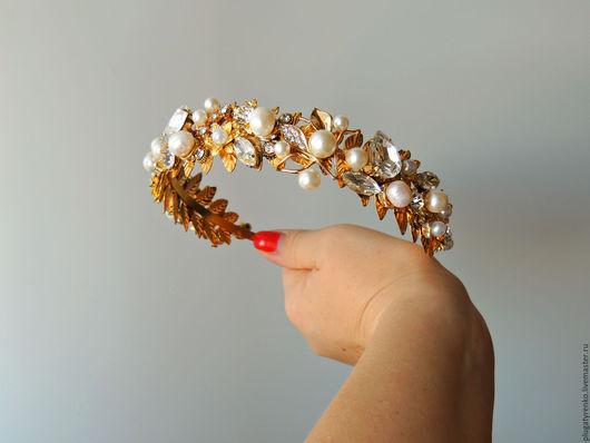 Диадемы, обручи ручной работы. Ярмарка Мастеров - ручная работа. Купить Тиара для волос Wedding Crystals. Handmade. Золотой
