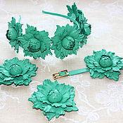 Украшения ручной работы. Ярмарка Мастеров - ручная работа комплект из мятно-зеленой кожи. Handmade.