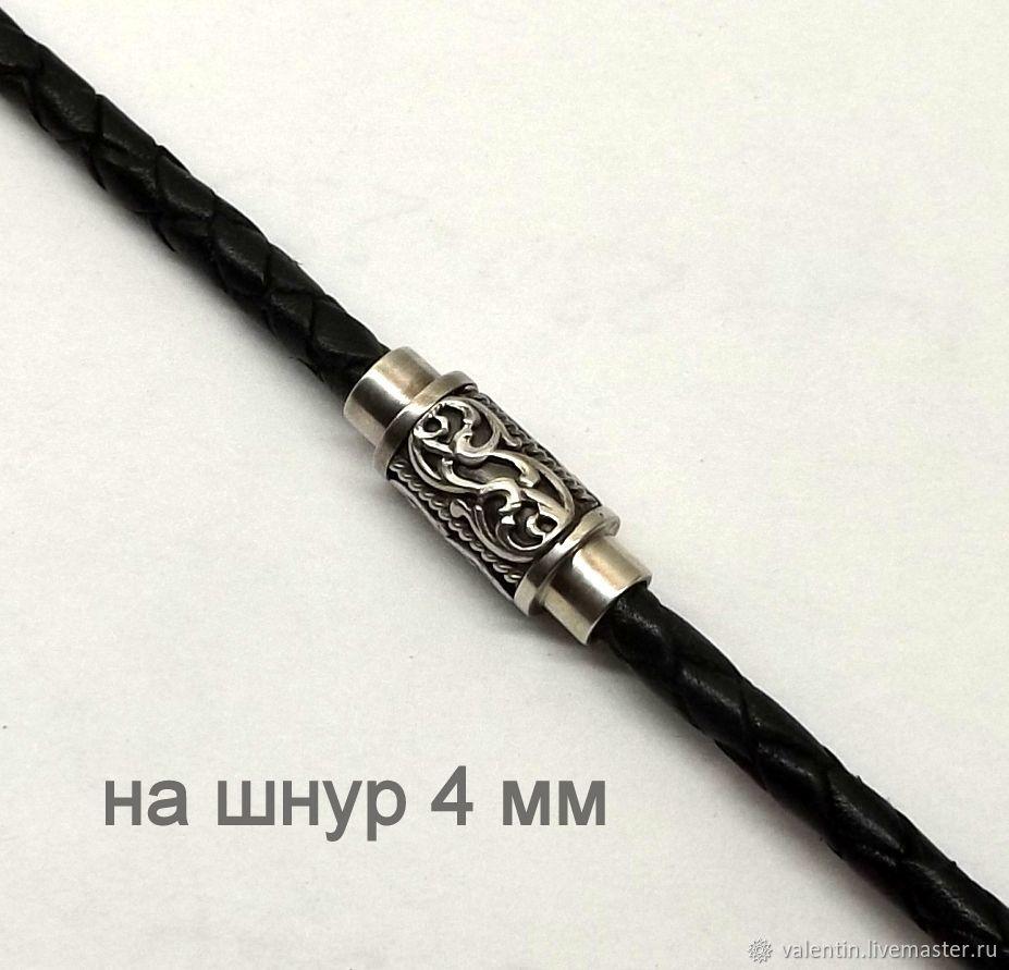 Магнитный замок, серебро 925, на шнур 4 мм, Фурнитура для украшений, Санкт-Петербург,  Фото №1