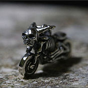Украшения handmade. Livemaster - original item Silver pendant in the form of biker motorcycle with a skeleton. Handmade.