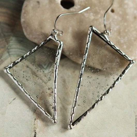 Серьги ручной работы. Ярмарка Мастеров - ручная работа. Купить Асимметричные серьги.  Витражные украшения ( стекло, металл). Handmade.